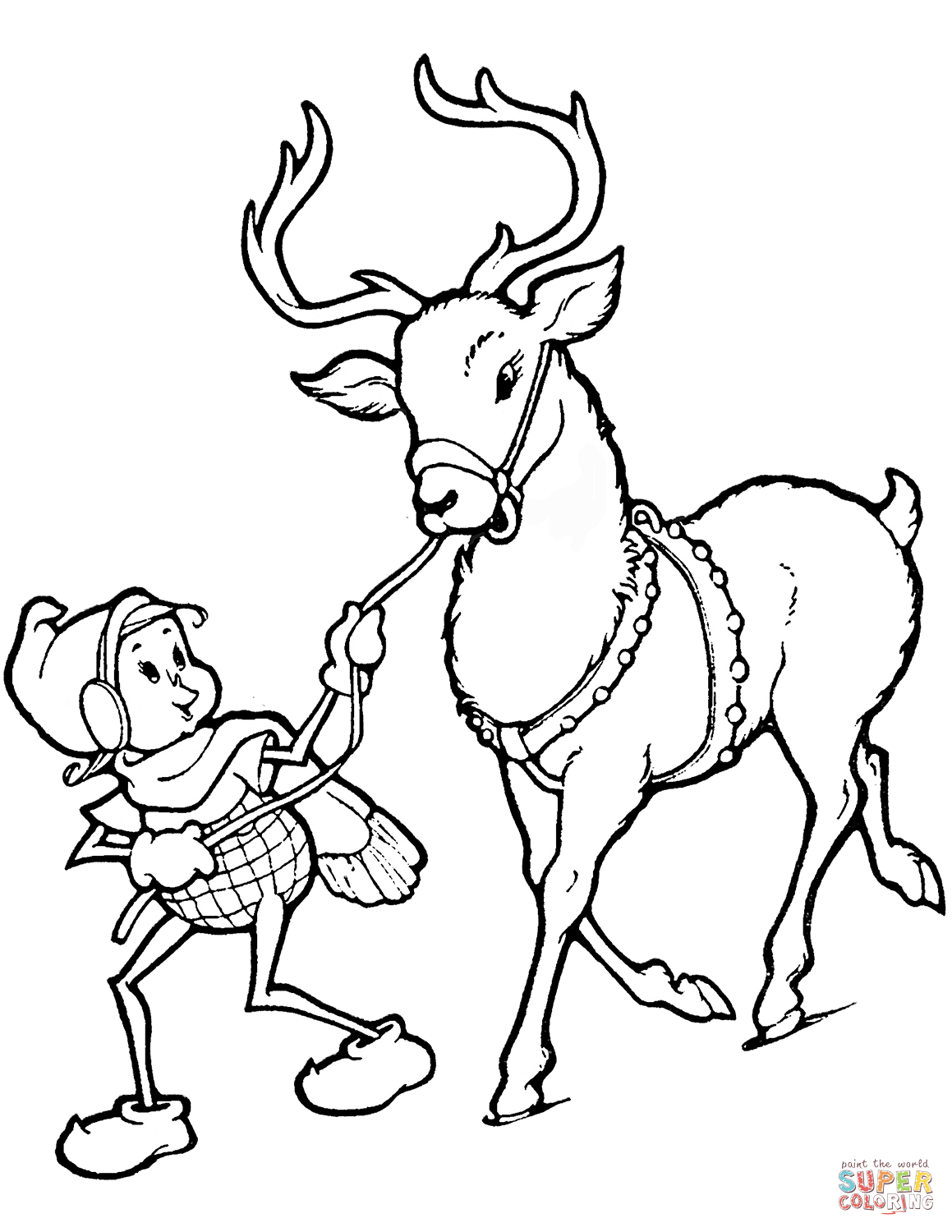 Christmas Reindeer Coloring Pages Printable With Elf And Page Free