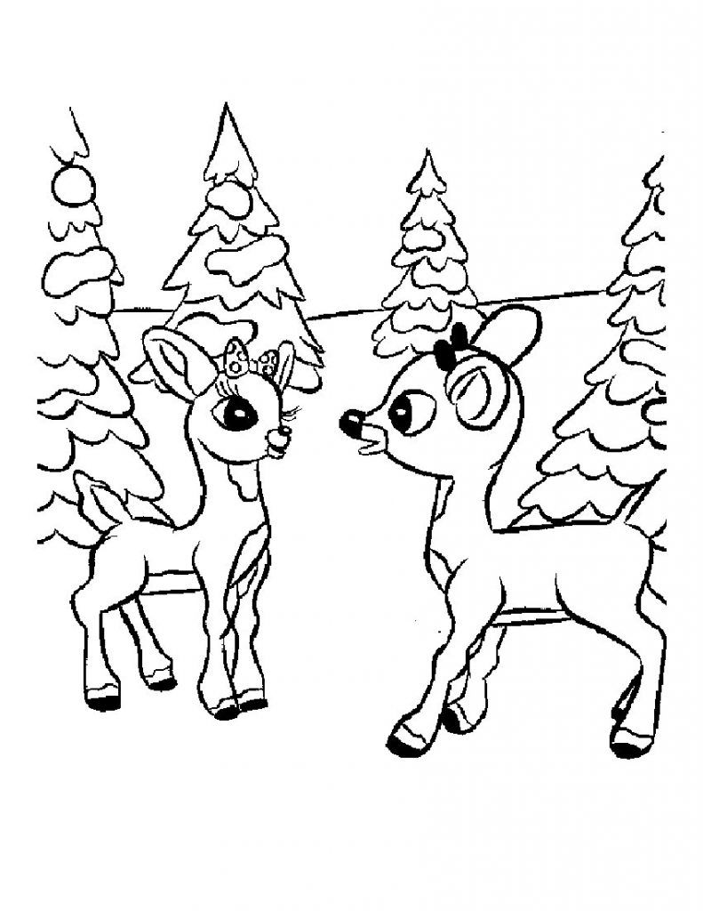 Christmas Reindeer Coloring Pages Printable With Free For Kids Pinterest