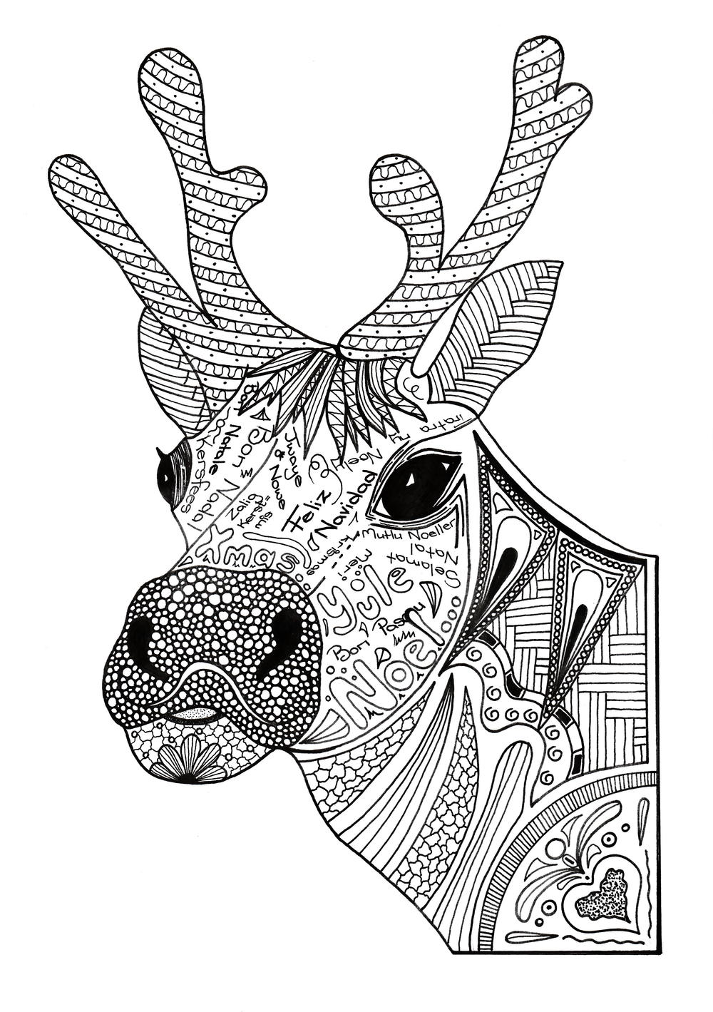 Christmas Reindeer Coloring Pages With Adult Page FaveCrafts Com