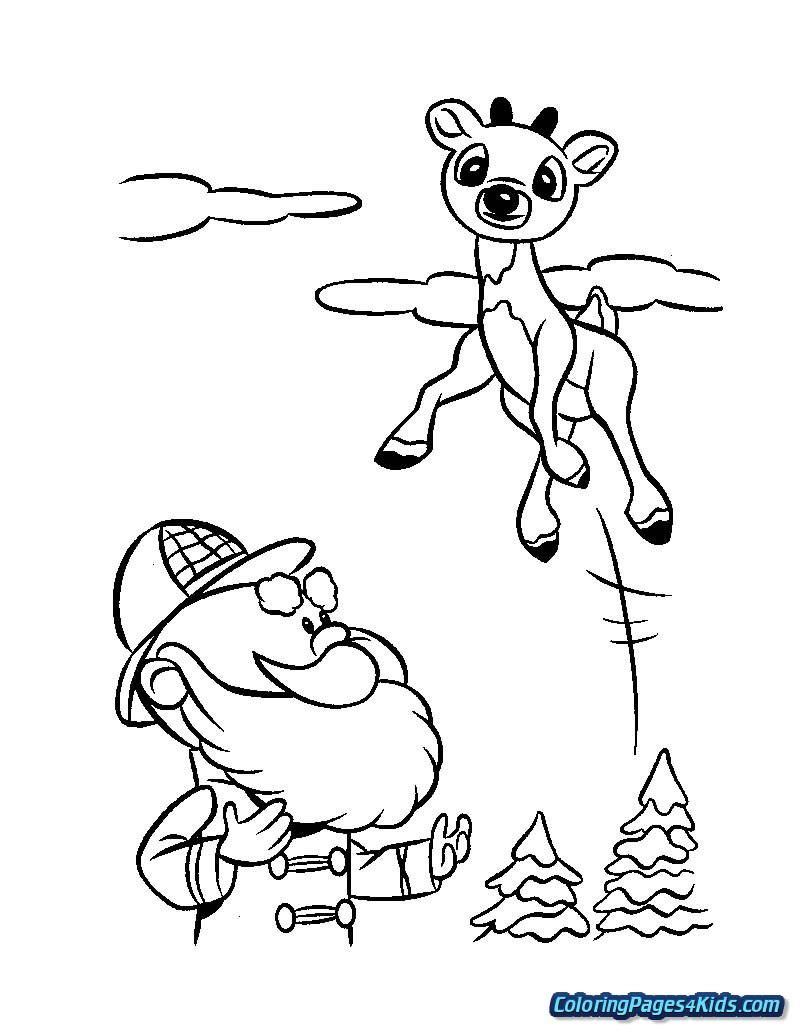 Christmas Reindeer Coloring Pages With For Kids
