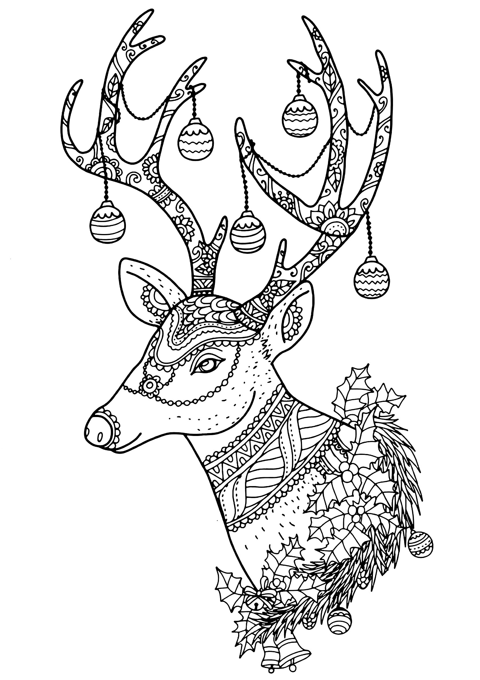 Christmas Reindeer Coloring Pages With New Gallery Printable Sheet