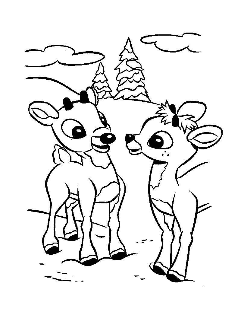 Christmas Reindeer Coloring Pages With Rudolph The Red Nosed Hellokids Com