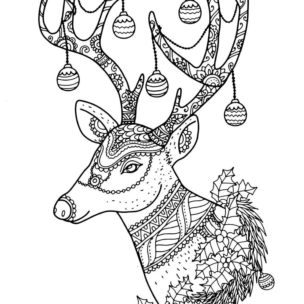 Christmas Reindeer Coloring Sheets With Best Of Page To Color Download