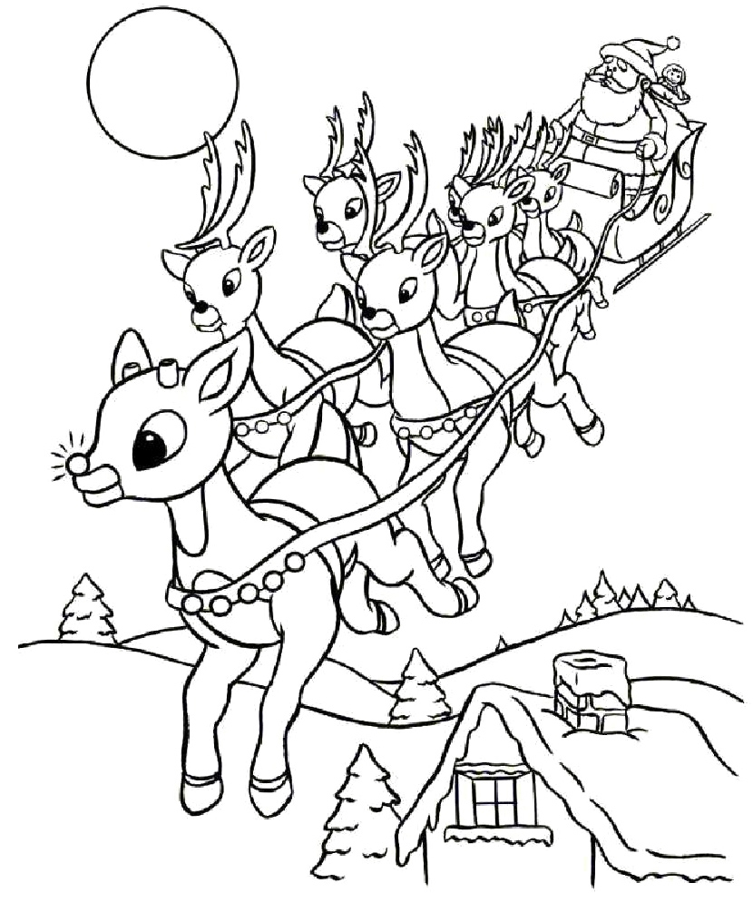 Christmas Reindeer Coloring Sheets With Page Free Printable Pages Within