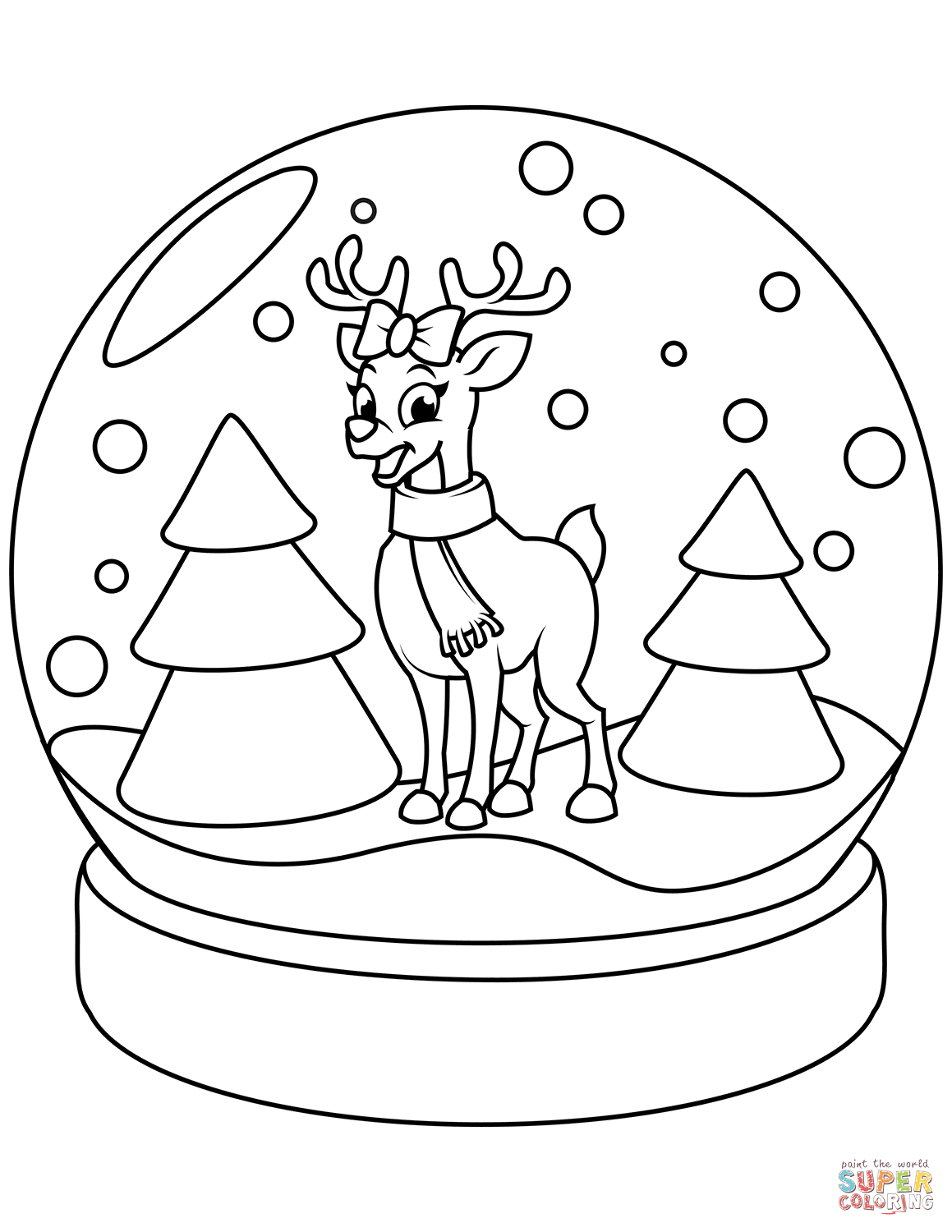 Christmas Reindeer Coloring Sheets With Snow Globe Page Free Printable