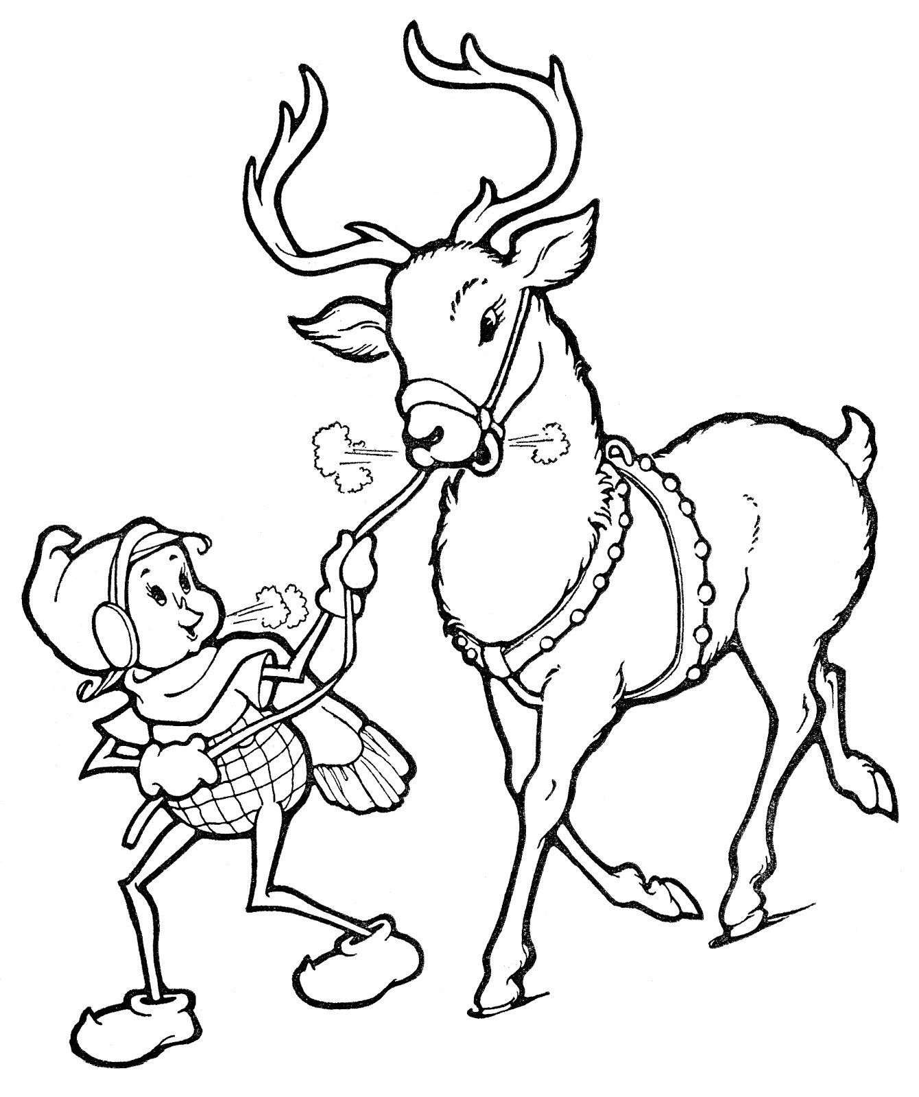 Christmas Reindeer Coloring With Flying Pages Page Elf
