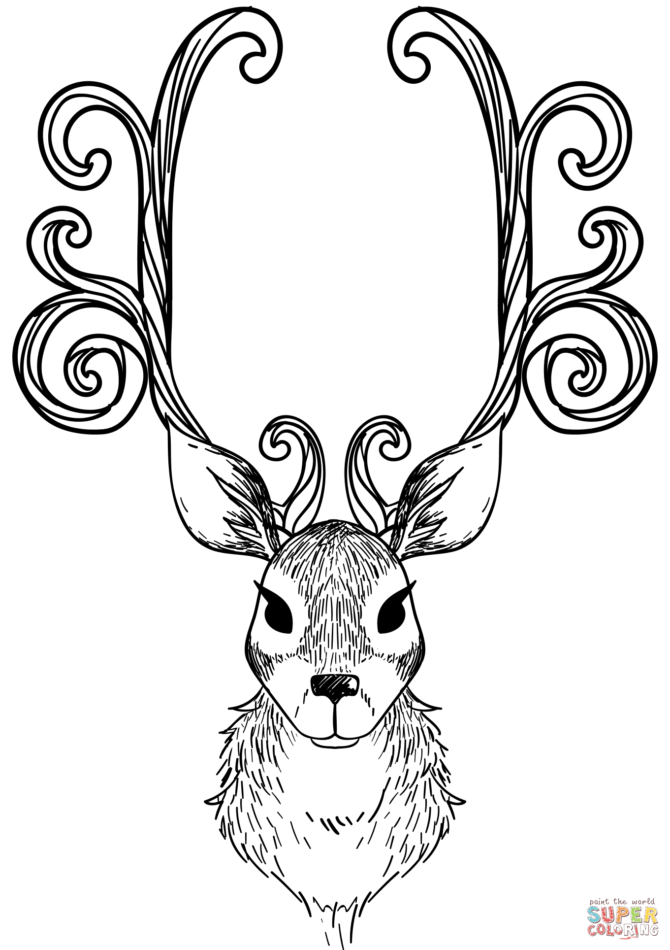 Christmas Reindeer Coloring With Page Free Printable Pages