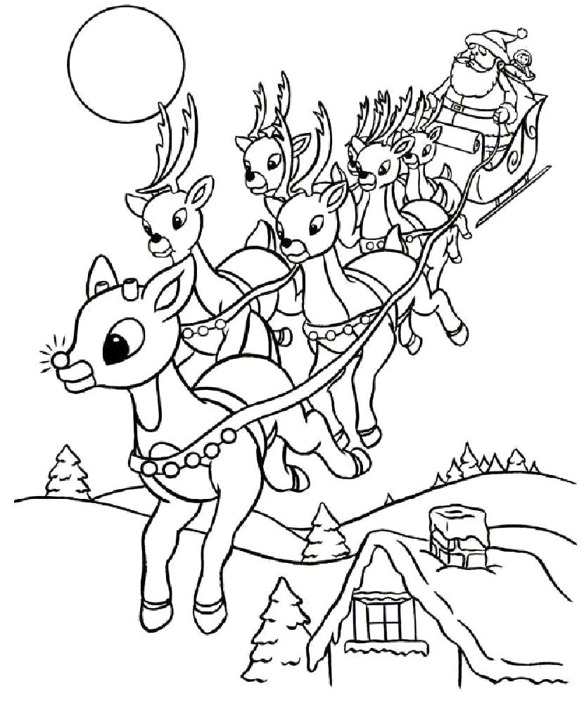 Christmas Reindeer Coloring With Santa S Pages 16 Crafts And Page