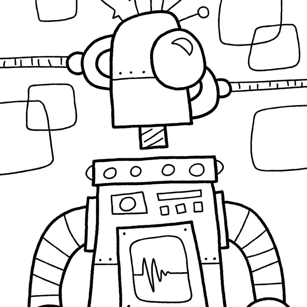 Christmas Robot Coloring Pages With Free Printable For Kids