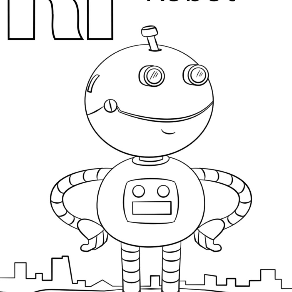 Christmas Robot Coloring Pages With Letter R Page Free The