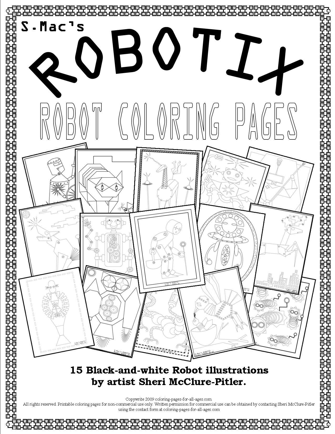 Christmas Robot Coloring Pages With S Mac ROBOTIX Downloadable Book