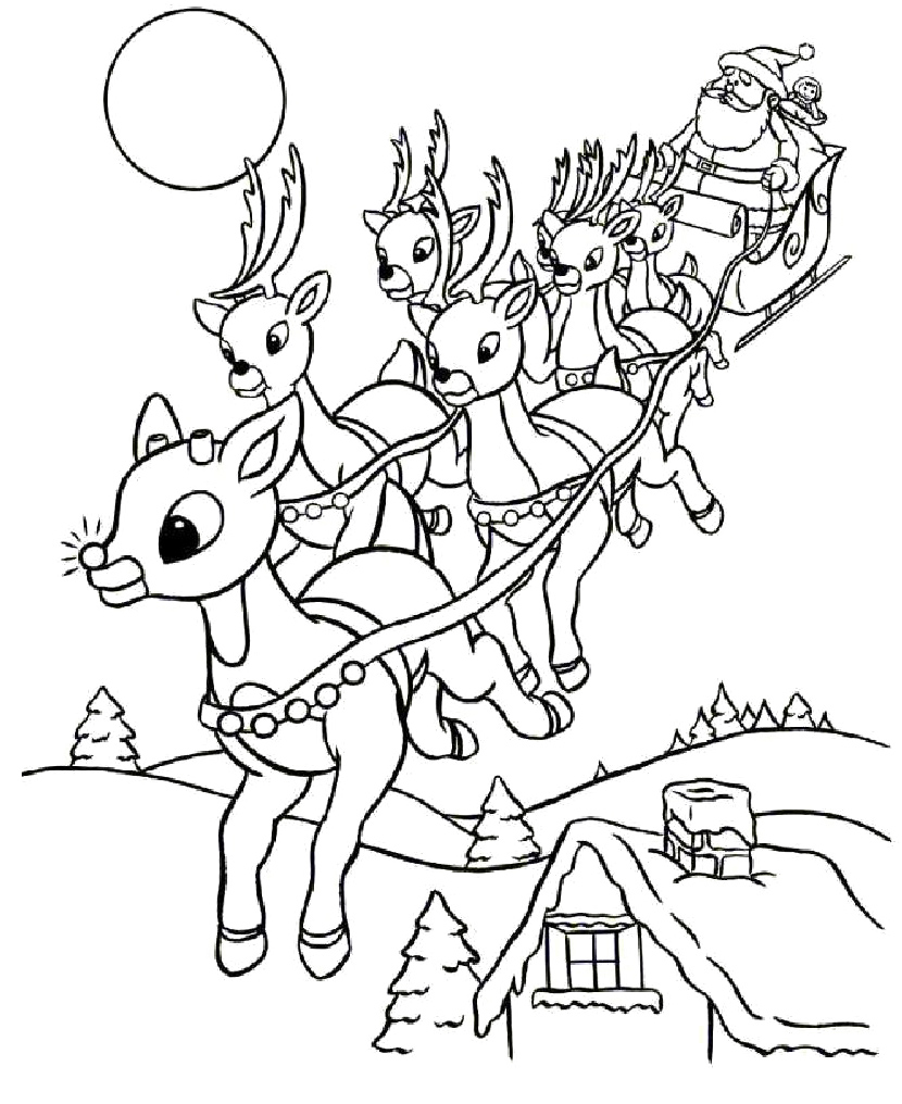 Christmas Rudolph Coloring Pages With Family Page Worksheets