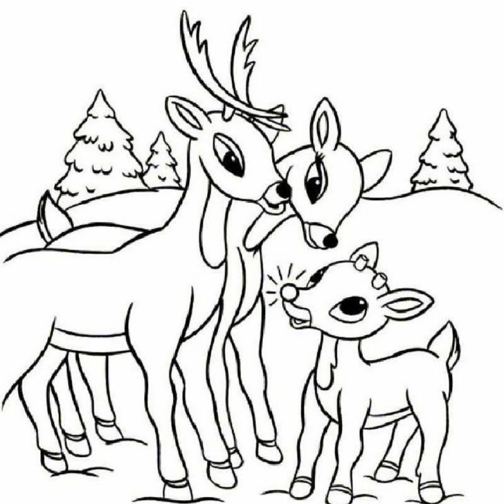 Christmas Rudolph Coloring Pages With Free Printable Reindeer For Kids
