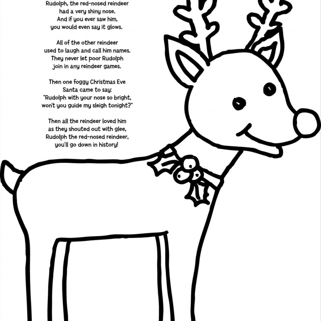 Christmas Rudolph Coloring Pages With The Red Nosed Reindeer Page