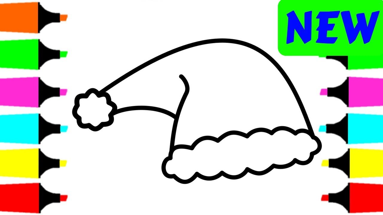 Christmas Santa Hat Coloring Page With How To Draw For Kids Pages