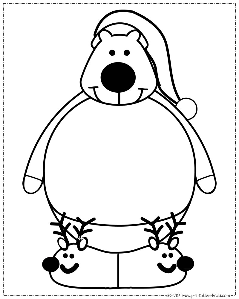 Christmas Santa Hat Coloring Page With Print And Color Polar Bear Printables For Kids Free
