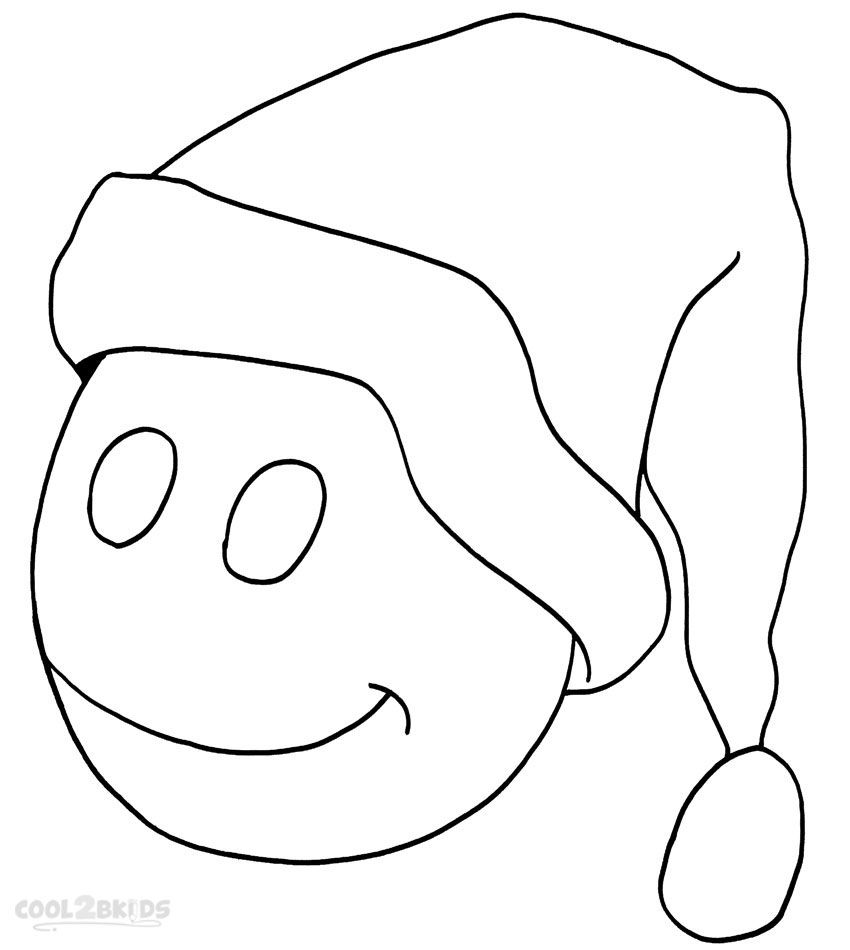 Christmas Santa Hat Coloring Page With Printable Pages For Kids Cool2bKids Holiday