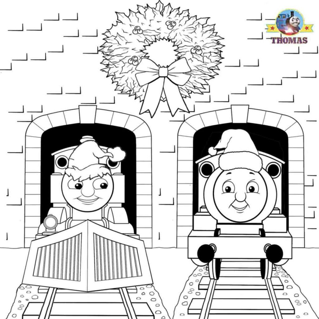 Christmas Santa Hat Coloring Page With Train Thomas The Tank Engine Friends Free