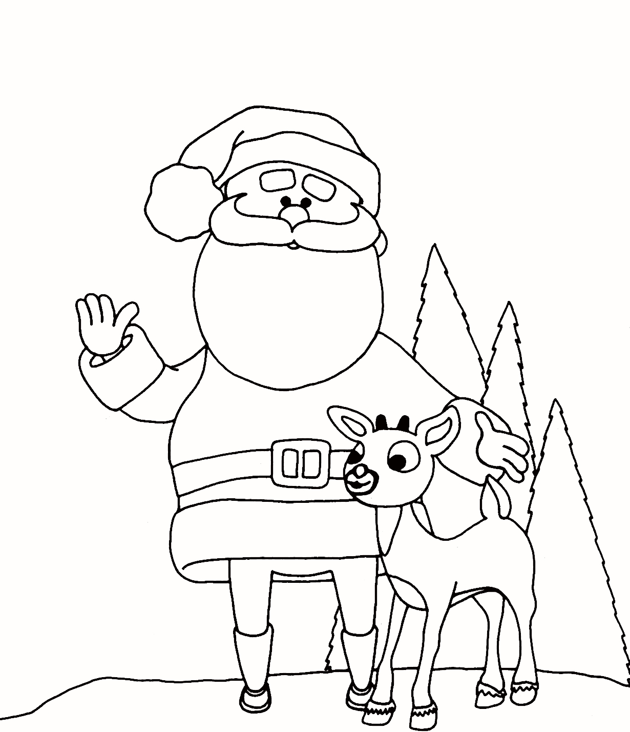 Christmas Santa S Reindeer Coloring Pages With Best Image Of