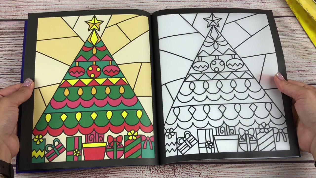 Christmas Stained Glass Coloring Usborne With A Look Inside The Book