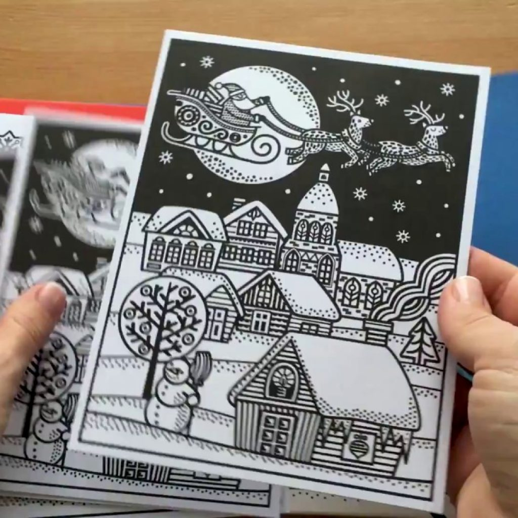 Christmas Stained Glass Coloring Usborne With Magic Painting Cards YouTube