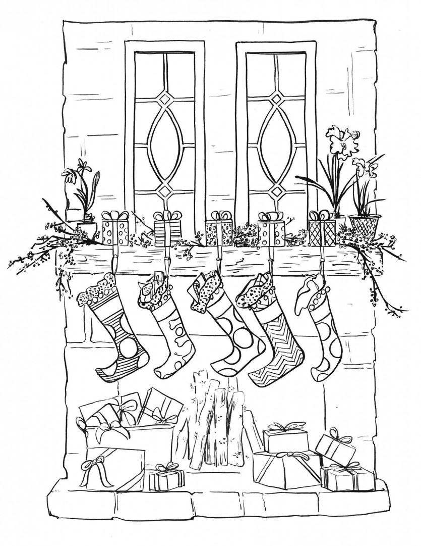 Christmas Stocking Coloring Pages For Adults With Printable Page How To Decorate
