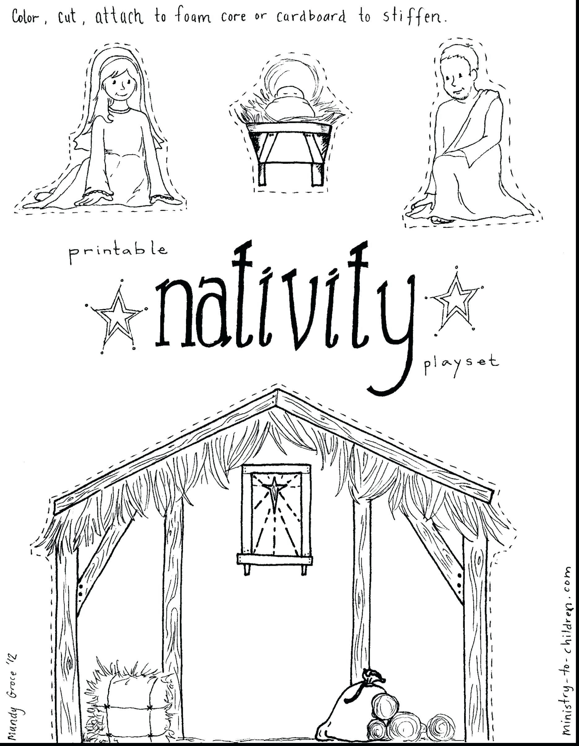 Christmas Story Coloring Pages Printable With Nativity Stable Page Fiscalreform Throughout