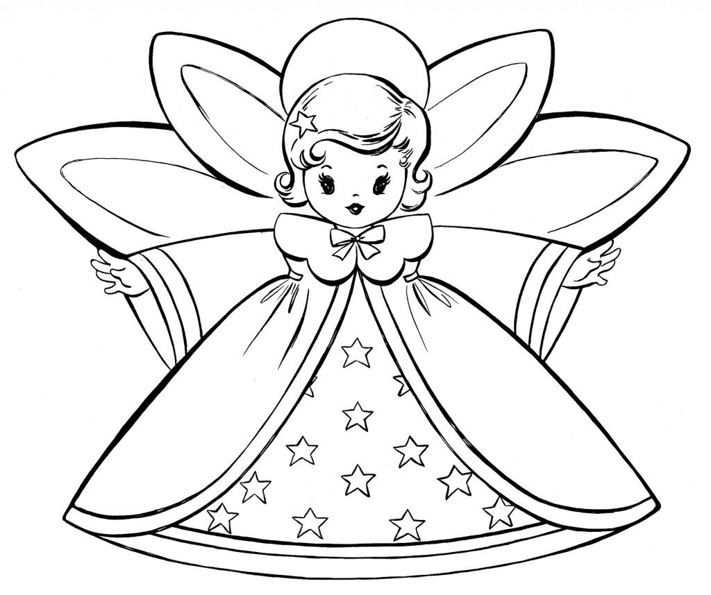 Christmas Thank You Coloring Pages With Free Retro Angels Pinterest