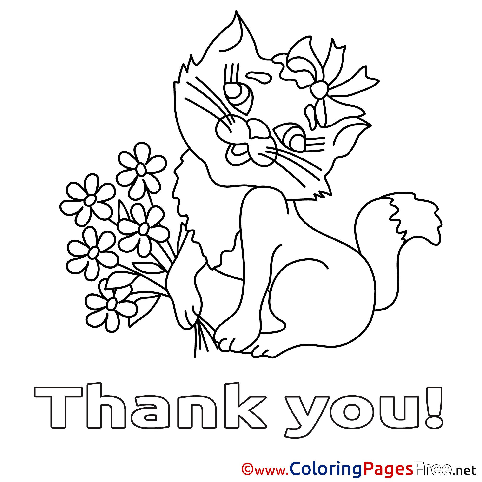 Christmas Thank You Coloring Pages With Fresh Cat Flowers