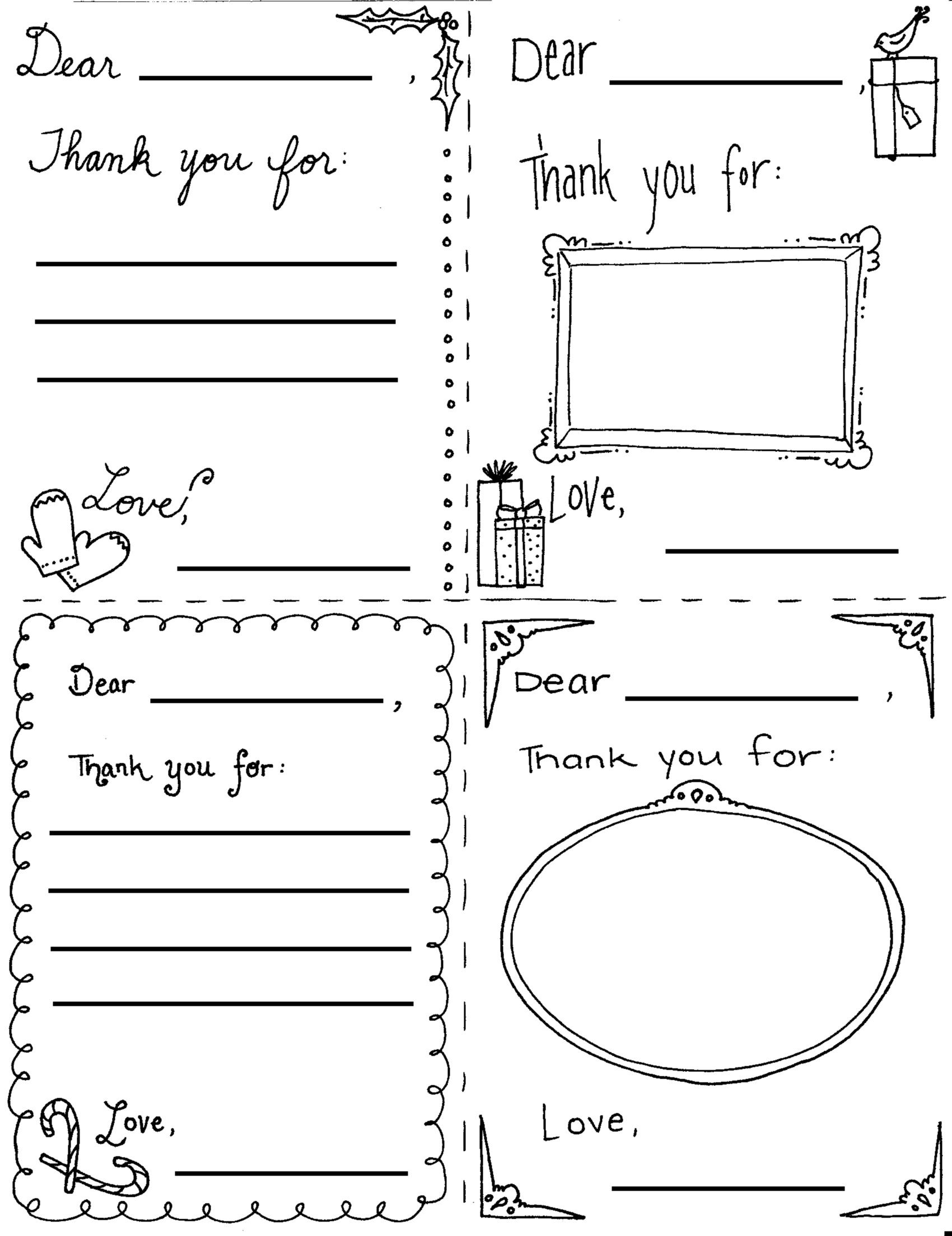Christmas Thank You Coloring Pages With Printable Cards For Children Holidays