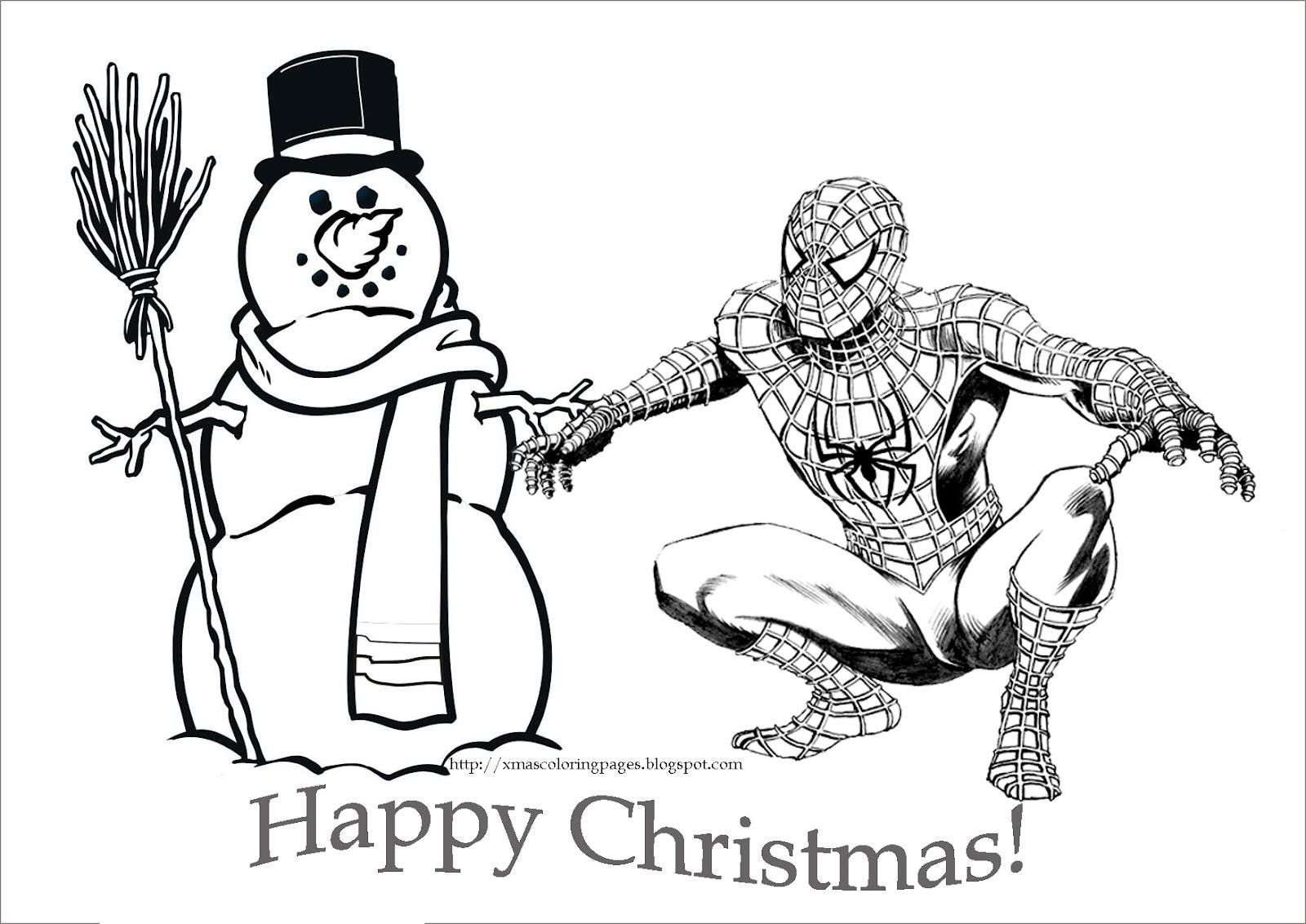 Christmas Thank You Coloring Pages With Spiderman For
