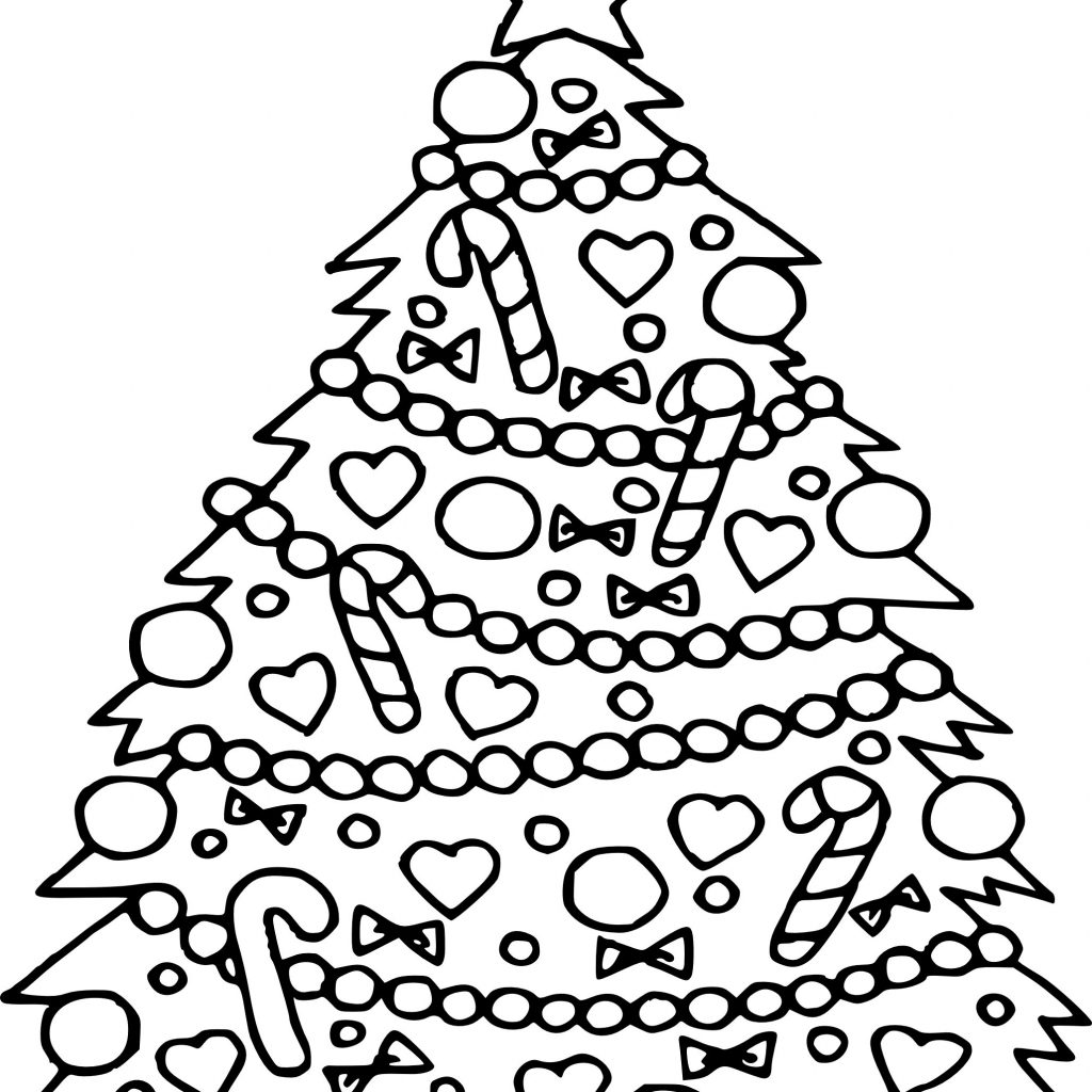 Christmas Tree Coloring In With Color Page Free Pages For Kids 2056 2376