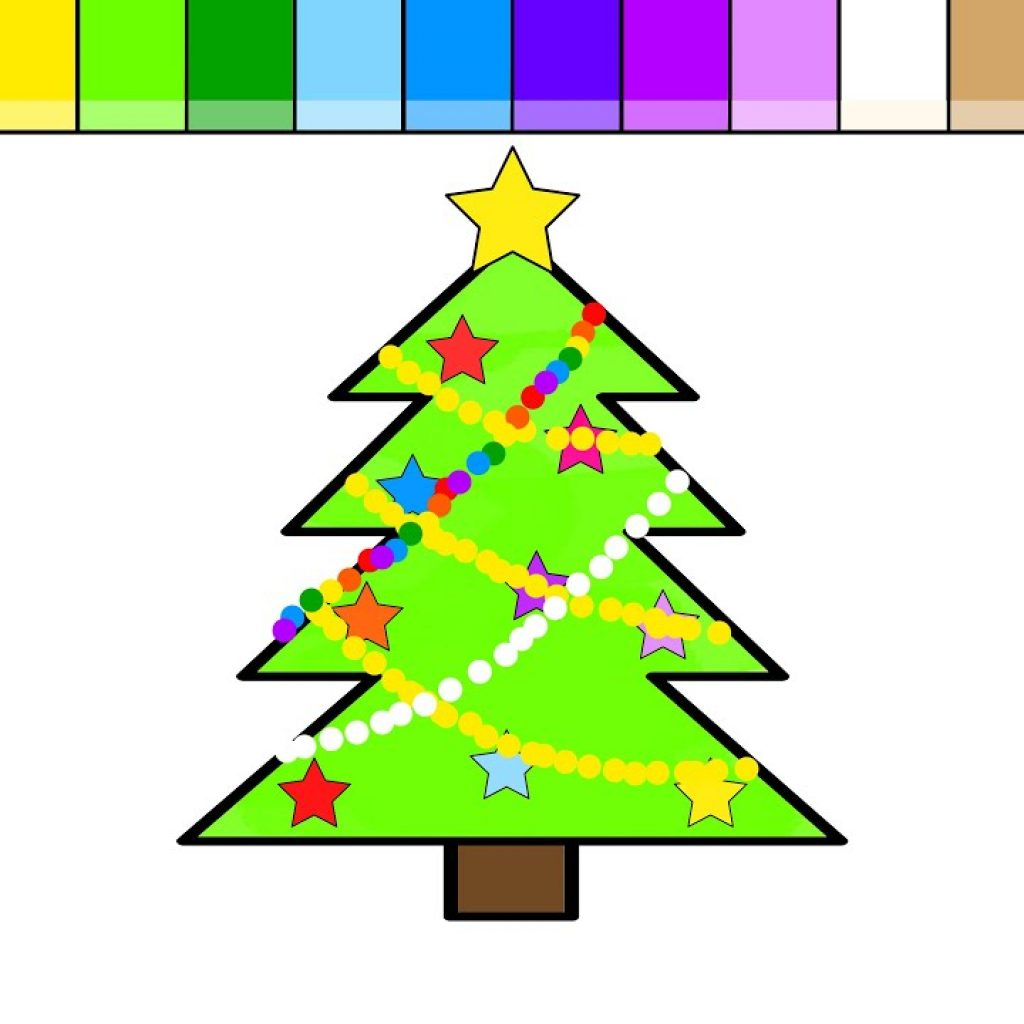 Christmas Tree Coloring In With Learn Colors For Kids And Color Pages YouTube