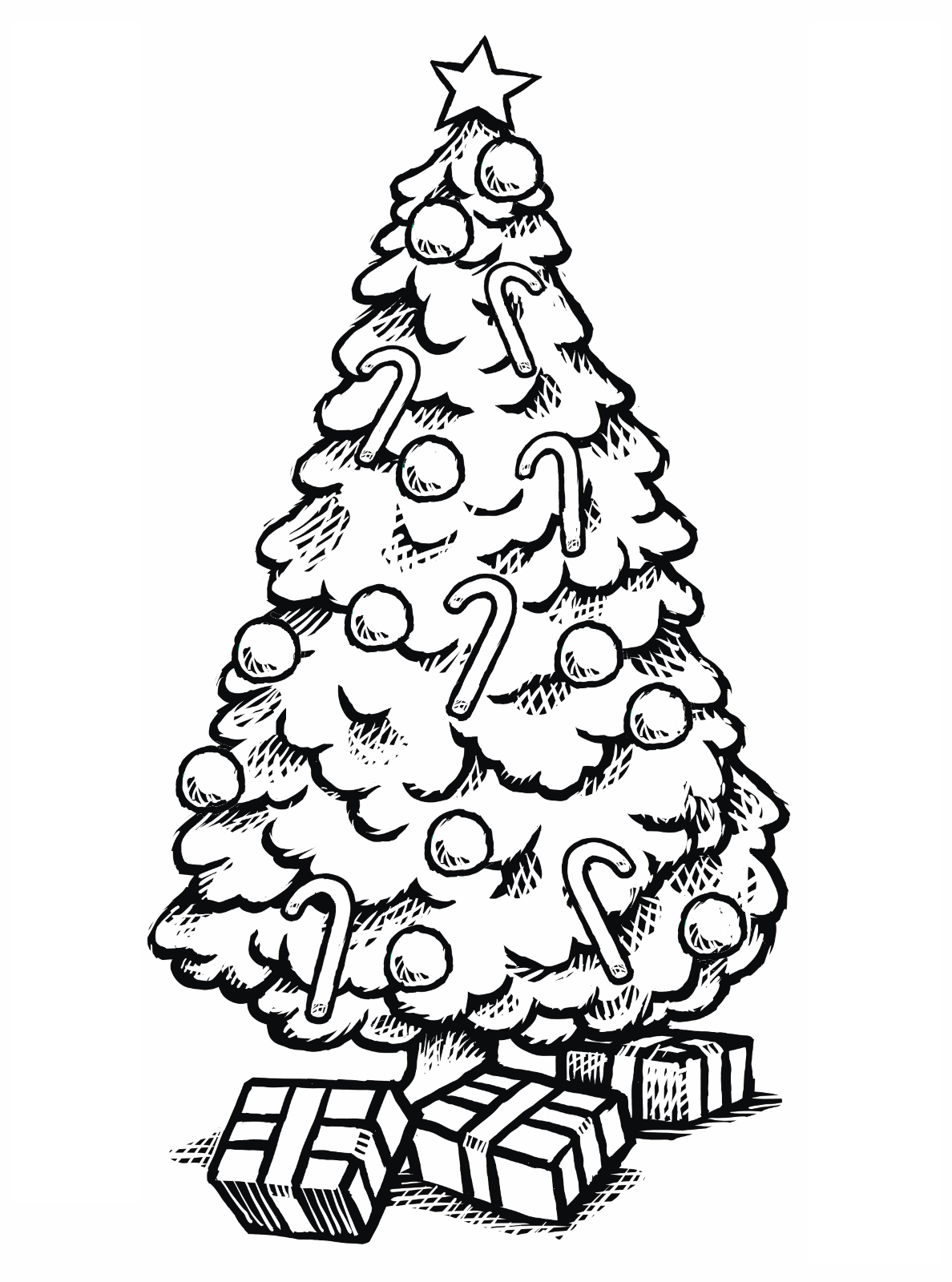 Christmas Tree Coloring In With