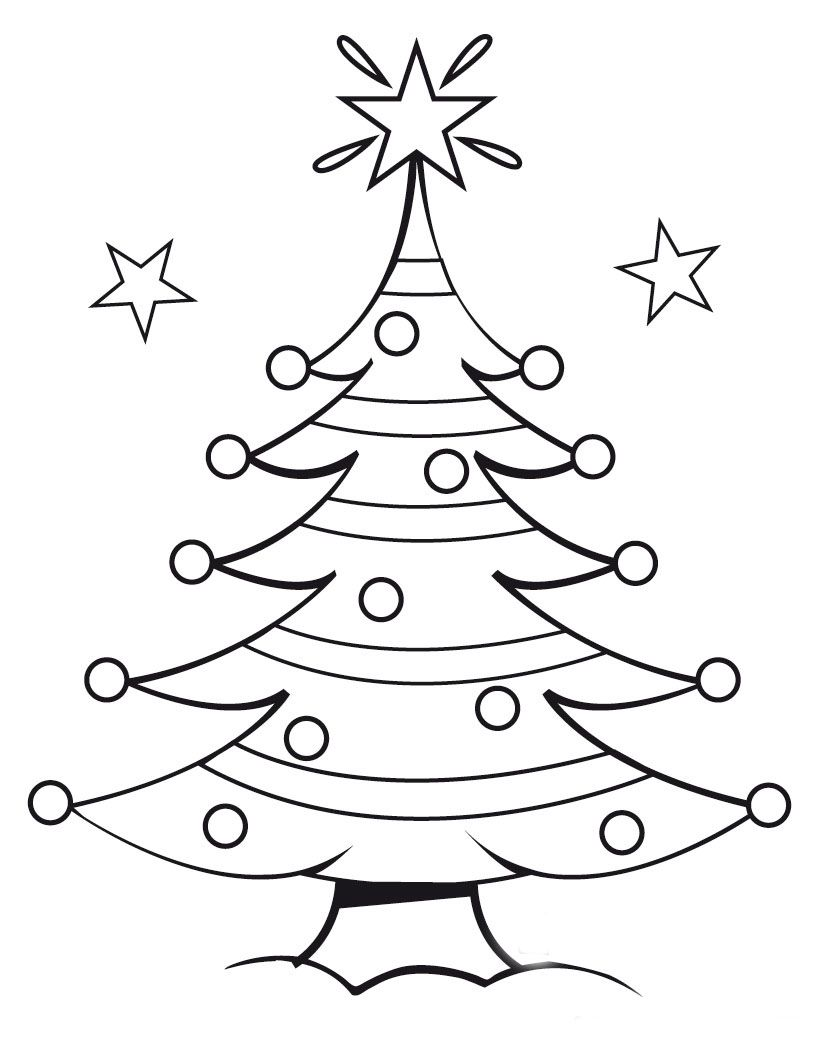 Christmas Tree Coloring Page With Free Pages Colourings