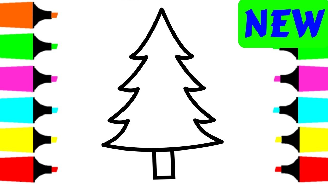 Christmas Tree Coloring Page With Pages For Kids Painting And Drawing Trees Children