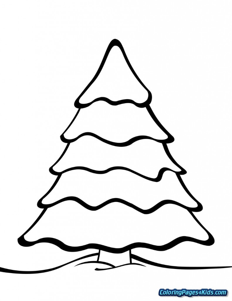 Christmas Tree Coloring Page With Presents Pages For Kids