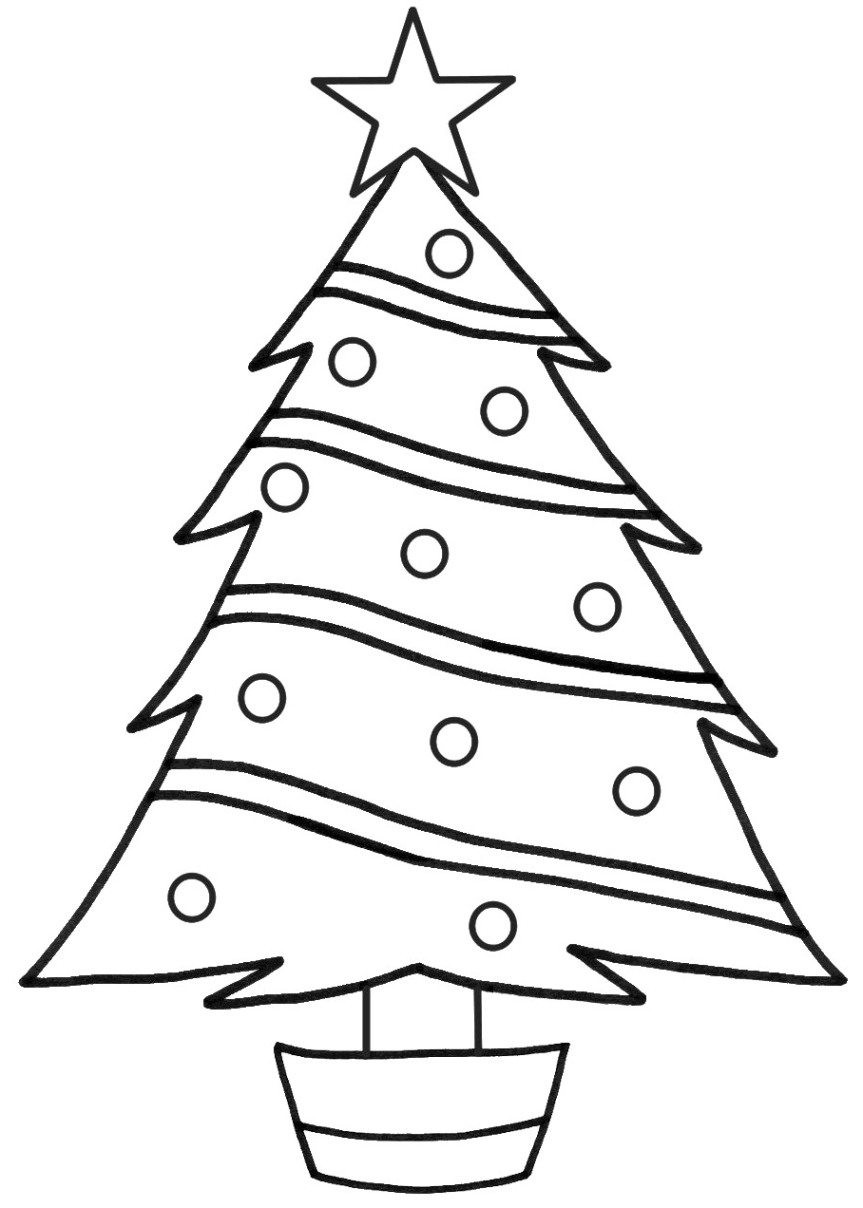 Christmas Tree Coloring Page With Printable Pages Free Library