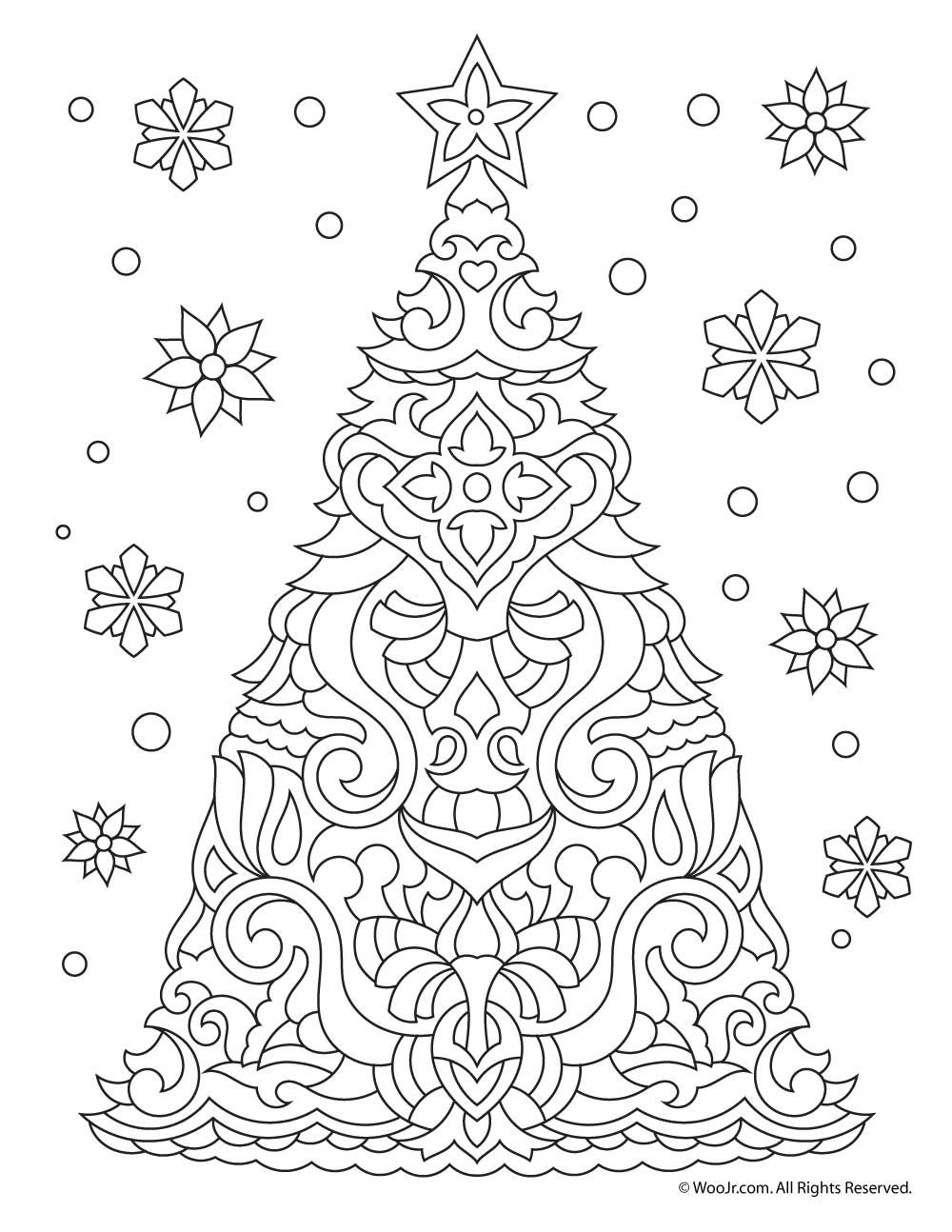 Christmas Tree Coloring Pages For Adults With Adult Page Easter