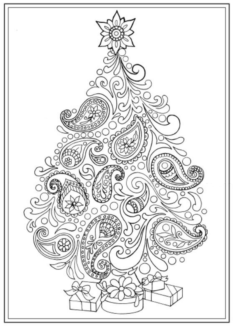 Christmas Tree Coloring Pages For Adults With Creative Haven Trees Book Dover Publications