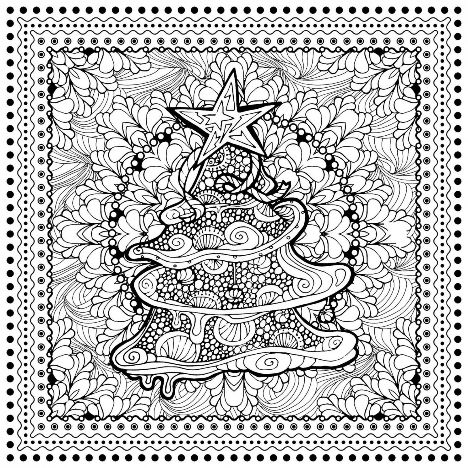 Christmas Tree Coloring Pages For Adults With Elegant Presents WWW PANTRY
