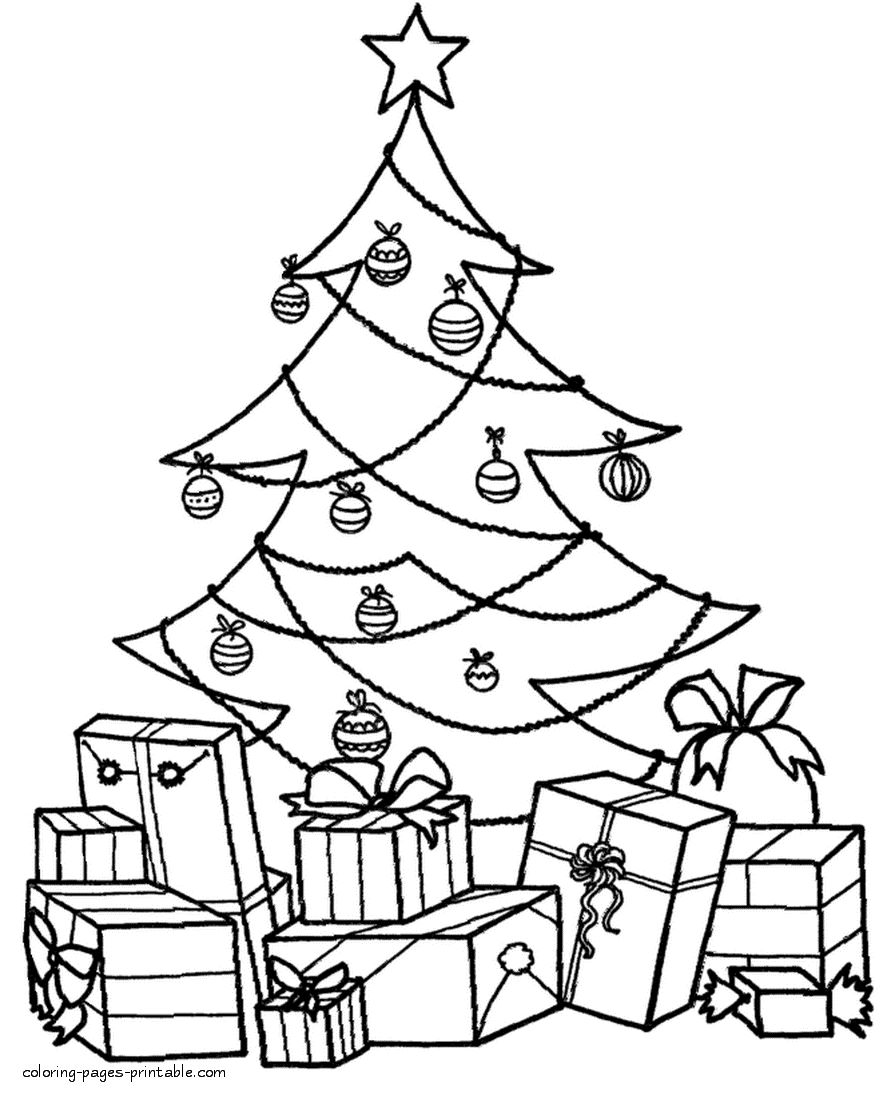 Christmas Tree Coloring Pages For Adults With Part 4 Free Resource