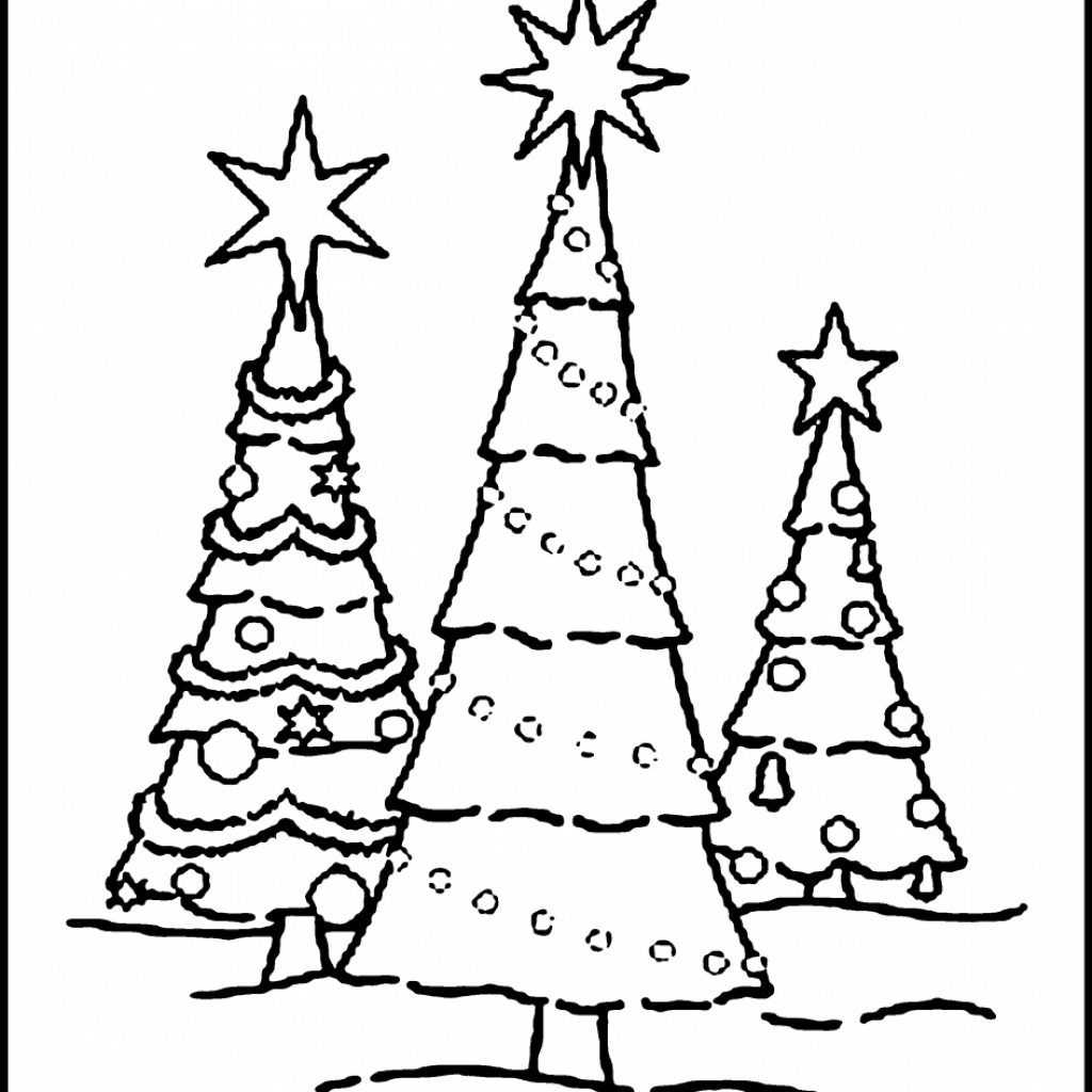 Christmas Tree Coloring Pages Free With Blank Printable