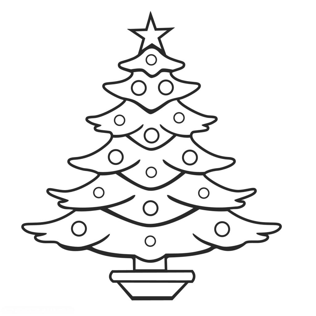 Christmas Tree Coloring Pages Free With Decorations Sheets Fresh Xmas