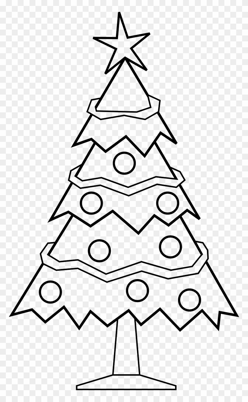 Christmas Tree Coloring Pages Free With For Kids X Mas Black And