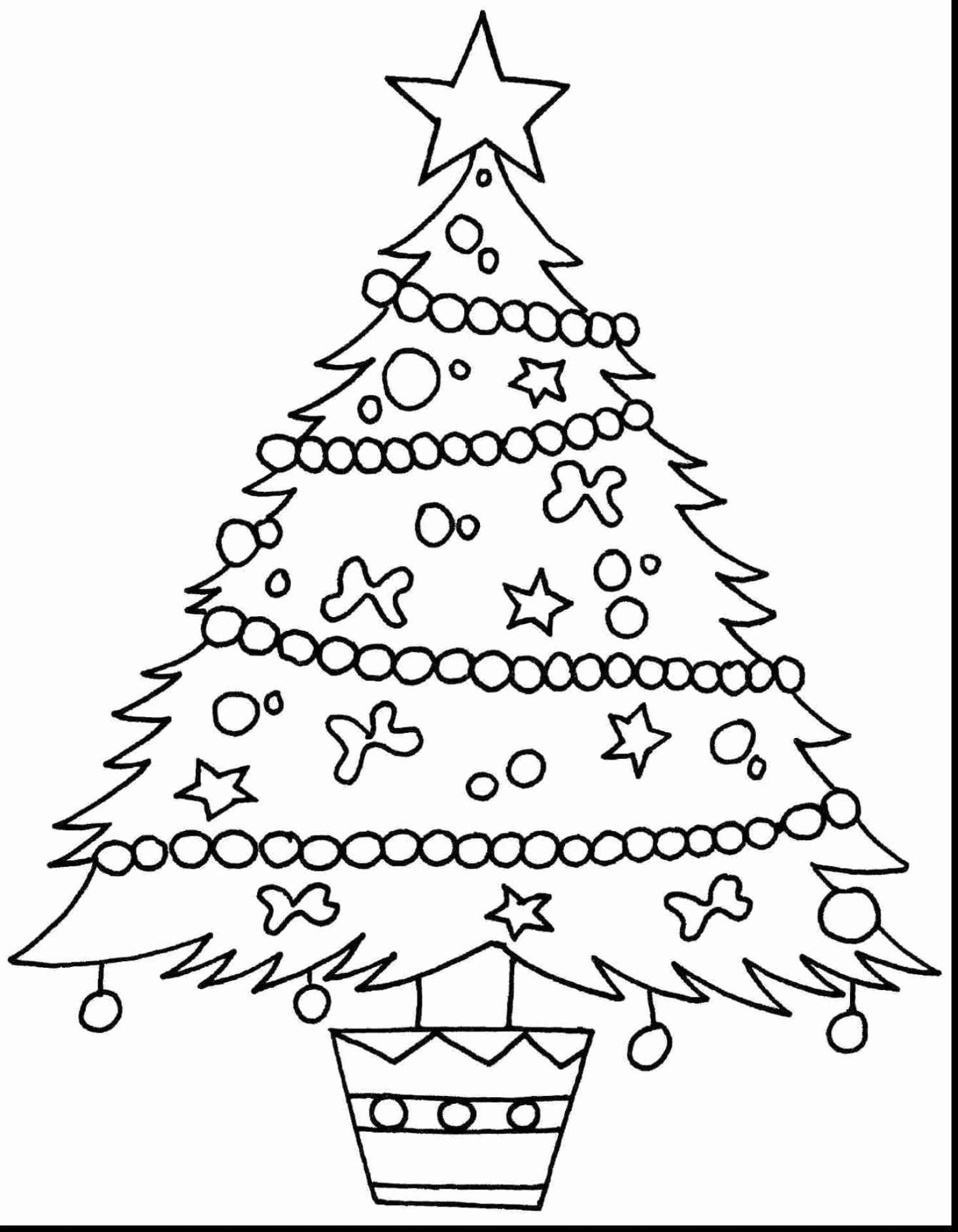 Christmas Tree Coloring Pages Free With New Xmas
