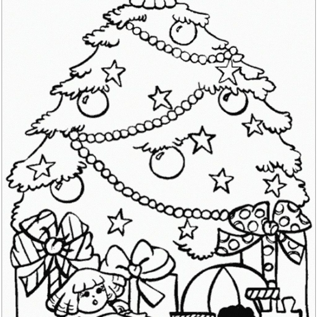 Christmas Tree Coloring Pages Free With Presents And Page