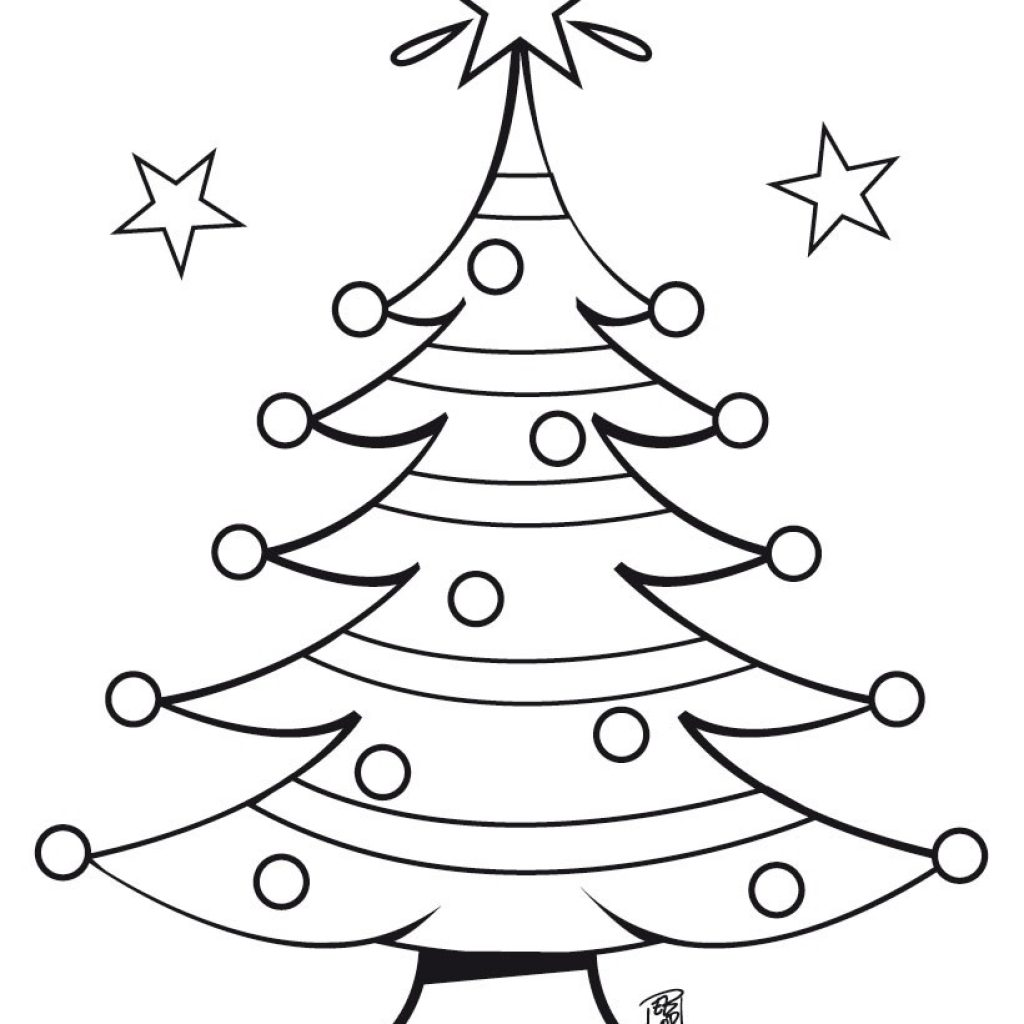 Christmas Tree Coloring Pages Printable With Decorated Hellokids Com