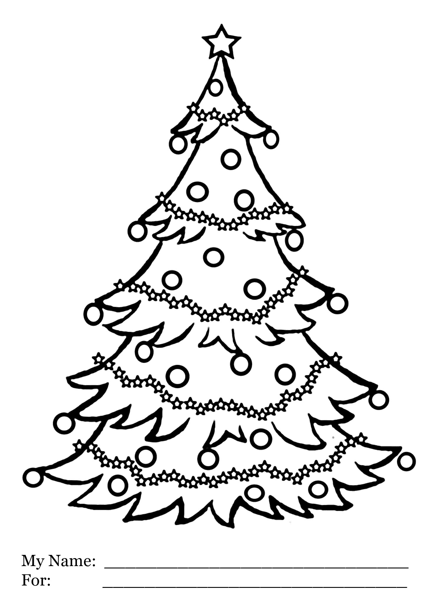 Christmas Tree Coloring Pages Printable With Of New For