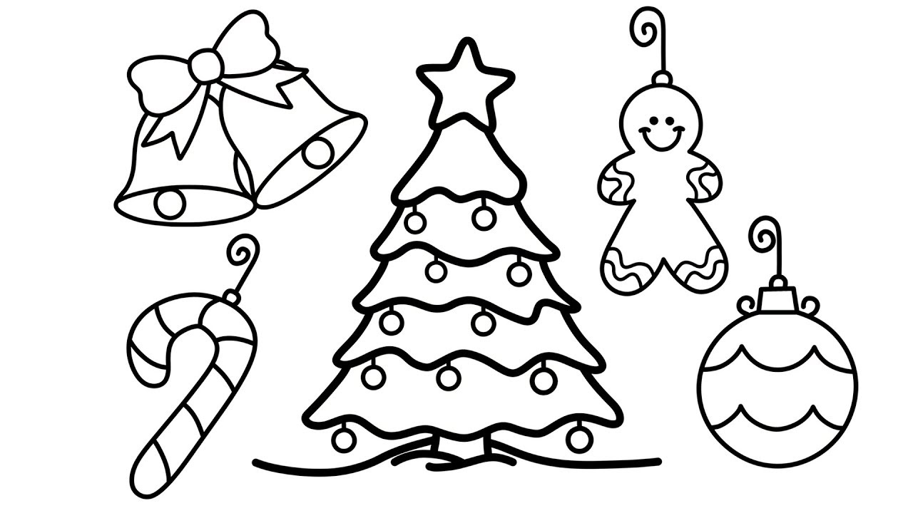 Christmas Tree Coloring Pages With How To Draw And Decorations For Kids